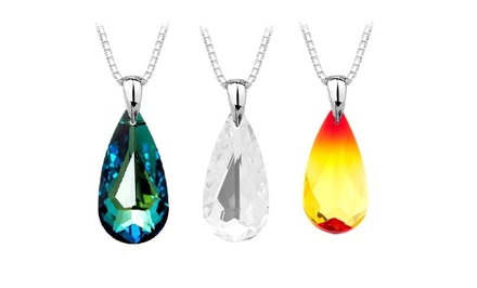Teardrop Pendant with Swarovski Elements in Sterling Silver