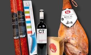 Bonisim: Jamón serrano de 6,7 kg de bodegas Rencal por 64,95 € o lote con jamón, embutidos ibéricos y vino por 74,95 €