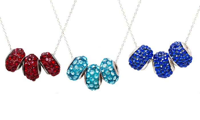 Sterling Silver Crystal Necklace: Sterling Silver Crystal Spinner Ball Necklace. Multiple Colors Available. Free Returns.
