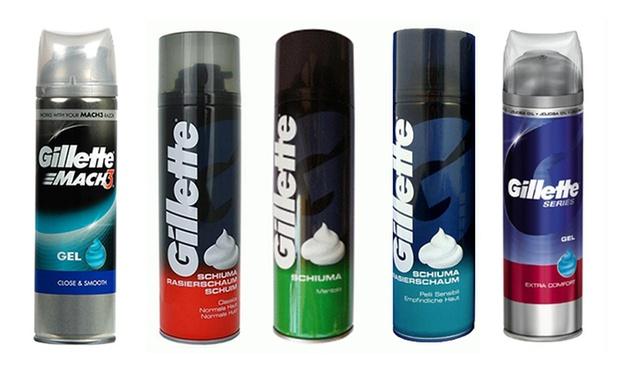 6 confezioni di schiuma o gel da barba Gillette. Varie tipologie disponibili da 14,90 € a 22,90 €