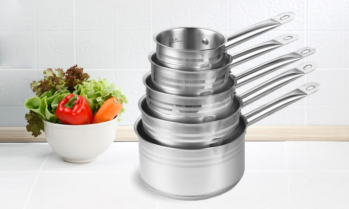 Batterie de 5 casseroles inox groupon shopping for Batterie inox cuisine