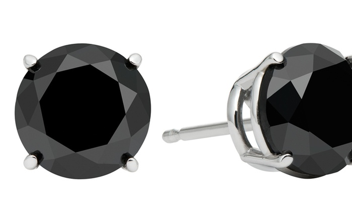 Black-Diamond Stud Earrings: $42.99 for One Pair of Sterling Silver and Black-Diamond Stud Earrings ($199 List Price)