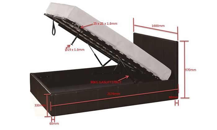 Queen bed dimensionsGaslift Ottoman Bed Frame   Groupon. King Single Bedroom Suite Sydney. Home Design Ideas
