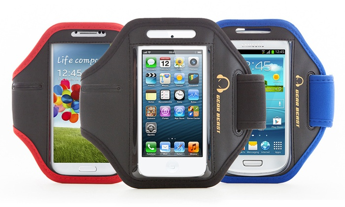 Gear Beast Samsung Galaxy and Apple iPhone Sports Armband: Gear Beast Sports Armband with Key Pocket for Apple iPhones and Samsung Galaxy Smartphones