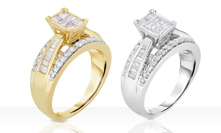 1 CTTW White Diamond Bridal Ring in 10-Karat Gold. Multiple Options Available. Free Returns.