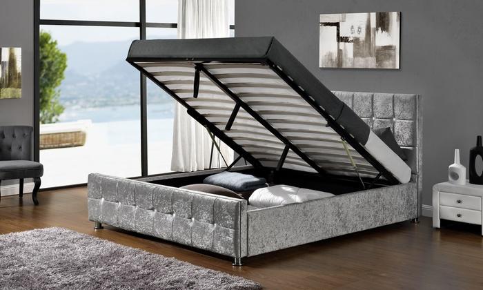Bed alceo met opbergruimte stof grijs of antraciet