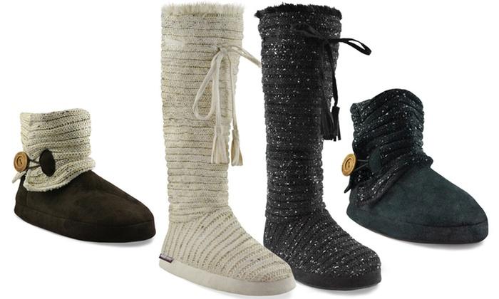 Muk Luks Knit Slipper Boots Groupon Goods
