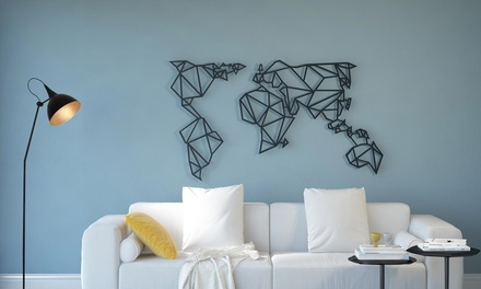 Mappa del mondo in acciaio
