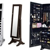 Bella Wooden Dressing Mirror with Jewelry Cabinet