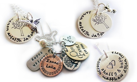 One or Two Stacked Family Necklaces or My Family Charm Necklaces from LillyEllenDesigns (Up to 71% Off)