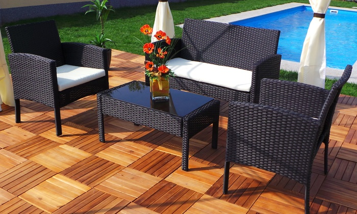 salon de jardin en rotin rio groupon. Black Bedroom Furniture Sets. Home Design Ideas