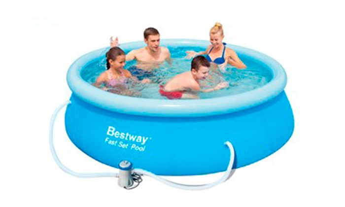 Bestway quick up swimming pool groupon goods for Quick up pool oval