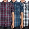 Micros Men's Short-Sleeve Woven Plaid Shirts