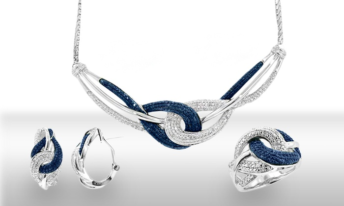 1/3 CT.T.W. Blue & White Diamond 3-Piece Set: 1/3 TCW 3-Piece Blue-and-White-Diamonds Jewelry Set. Free Shipping and Returns.