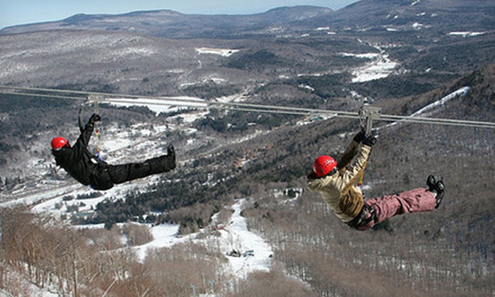 New York Zipline Adventure Tours at Hunter Mountain - Hunter: Mid-Mountain Canopy Tour or $50 Gift Voucher from New York Zipline Adventure Tours at Hunter Mountain (Up to 30% Off)