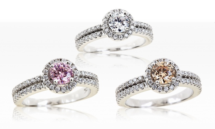 2-Carat Colored Cubic Zirconia and Sterling Silver Halo Rings: 2-Carat Colored Cubic Zirconia and Sterling Silver Halo Rings. Multiple Colors Available. Free Shipping and Returns.