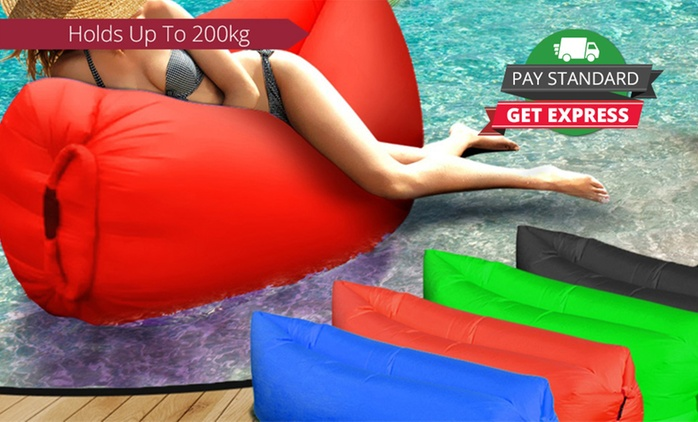 Fast-Inflatable Air Lounge in Choice of Four Colours - One ($29) or Two Lounges ($49)