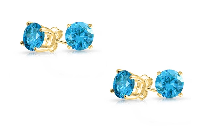 14k Gold Plated Genuine Blue Topaz Earrings 1 Or 2 Pack