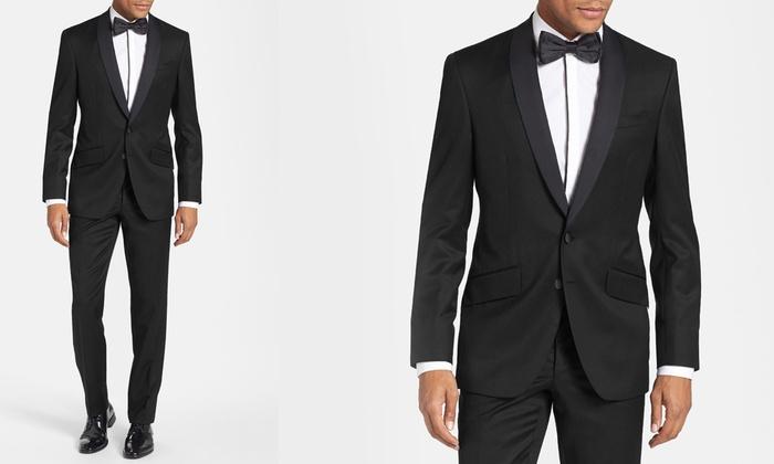 Eleganza Platinum Men's Slim Fit Shawl Lapel Tuxedo (2-Piece): Eleganza  Platinum