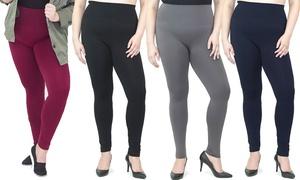 Women's Plus-Size High-Waist Fleece Leggings (3-Pack)