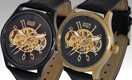 Croton Imperial Men's Skeleton Watches. Multiple Colors Available.