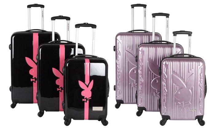 photos officielles bd4b0 479ab Set de trois valises PLAYBOY ABS Polycarbonate | Groupon ...