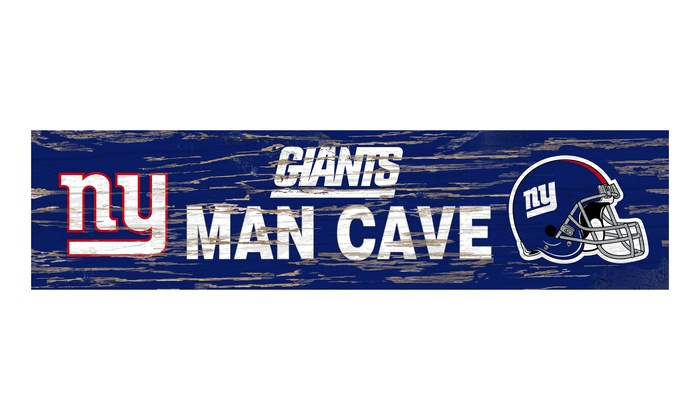 New York Giants Distressed Man Cave Sign: New York Giants Distressed Man Cave Sign