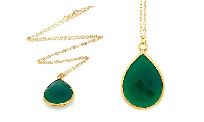 Liv Oliver Genuine Gemstone and Gold-Over Sterling Silver Jewelry: Genuine Gemstone and Gold-Over Sterling Silver Jewelry. Multiple Styles Available.