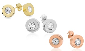 Stainless Steel And Bezel-set Swarovski Elements Crystal Studs