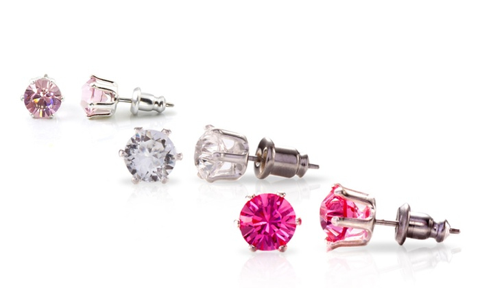 Stud Earrings with Swarovski Elements: One or Three Pairs of Stud Earrings with Swarovski Elements (Up to 95% Off). 3 Colors Available. Free Returns.
