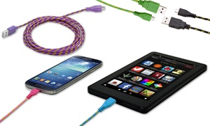 Aduro 10 Ft. Fiber Cloth Pattern Cable For Micro-usb Devices