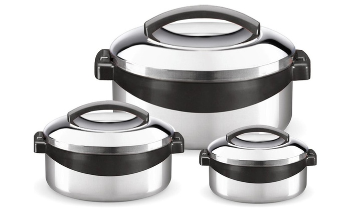 Popular Electronics Three-Piece Milton Regent Hot Pot Insulated Casserole Set, Full Stainless Steel at Popular Electronics