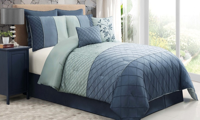8-Piece Comforter Set: 8-Piece King and Queen Comforter Sets in Red or Teal. Free Returns.