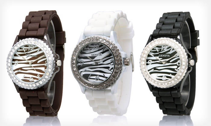 Geneva Impressive Trends Watches: $7 for a Women's Geneva Impressive Trends Zebra Silicone Watch ($19.99 List Price). Nine Styles Available. Free Returns.
