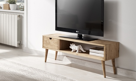 Mueble de TV diseño vintage con un cajón y un estante