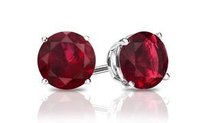 Genuine Garnet Gemstone Stud Earrings In Sterling Silver. One Or Two Pairs From $5.99–$7.99