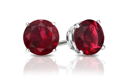 Genuine Garnet Gemstone Stud Earrings in Sterling Silver. One or Two Pairs From $5.99–$7.99