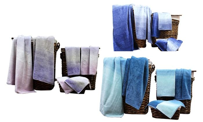 Jacquard 6-Pc. Towel Set with Bath Towels, Hand Towels, and Washcloths: Jacquard 6-Pc. Towel Set with Bath Towels, Hand Towels, and Washcloths