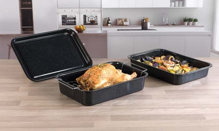 Russell Hobbs COMBO1970 Romano Vitreous Enamel Baking Tray, Roaster and Roaster with Rack