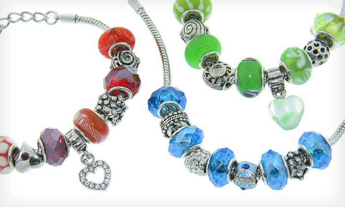 Murano-Bead Charm Bracelets: $19 for a Stainless-Steel-and-Murano-Bead Charm Bracelet ($49 List Price). Free Shipping. 15 Designs Available.