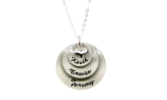 Hannah Design: Hannah Design Personalized Three-Name Puffed Heart Script Necklace