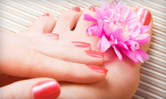 Glo Beauty Bar - College/Perkins: Spa or Shellac Mani-Pedi with Wine at Glo Beauty Bar (Up to 55% Off)