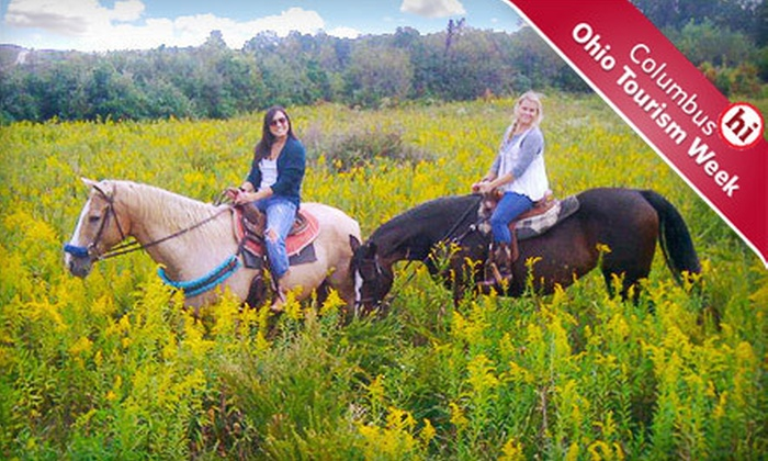 Equestrian Ridge Farm - Hocking Hills Region: Partnering with Horse Ride, a Woods and Meadows Trail Ride, and a Trail Lunch for One or Two at Equestrian Ridge Farm in New Plymouth (Up to 57% Off)