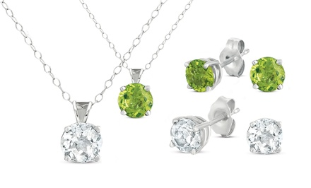 2-Piece Gemstone Stud and Pendant Set. Multiple Gemstone Options Available. Free Returns.