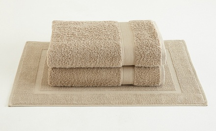 100% UltraSoft Supima Cotton Two-Piece Bath Sheet Set with Bath Mat. Multiple Colors Available.