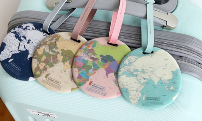Groupon Goods Global GmbH: One or Four World Map-Printed Luggage Tags