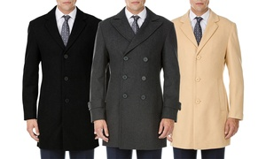 Men's Single- or Double-Breasted Wool-Blend Coat
