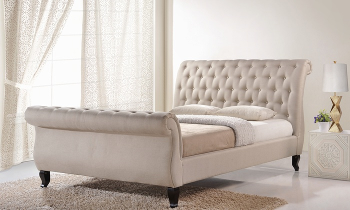 Upholstered Tufted Sleigh Bed Groupon Goods