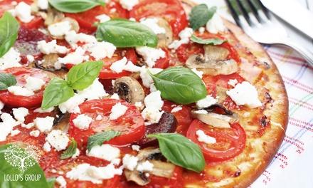 Menu con antipasto, pizza e vino in centro