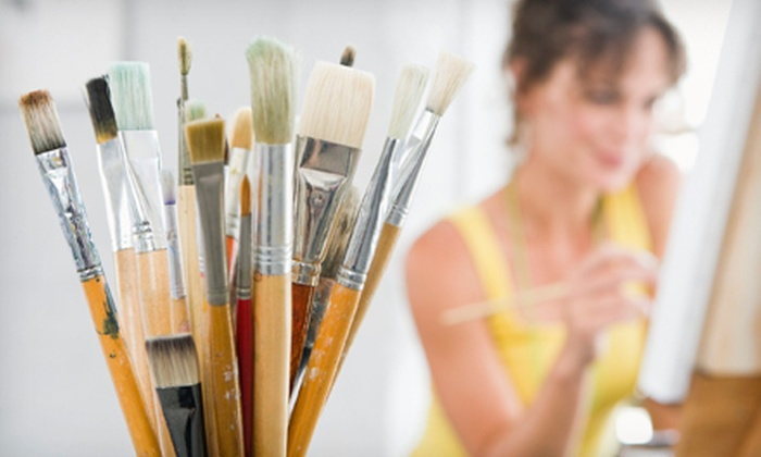 Corks & Colors Studio - Gainesville: Two University of Florida Wineglasses or $5 for $10 Toward Art Classes at Corks & Colors Studio (Up to Half Off)